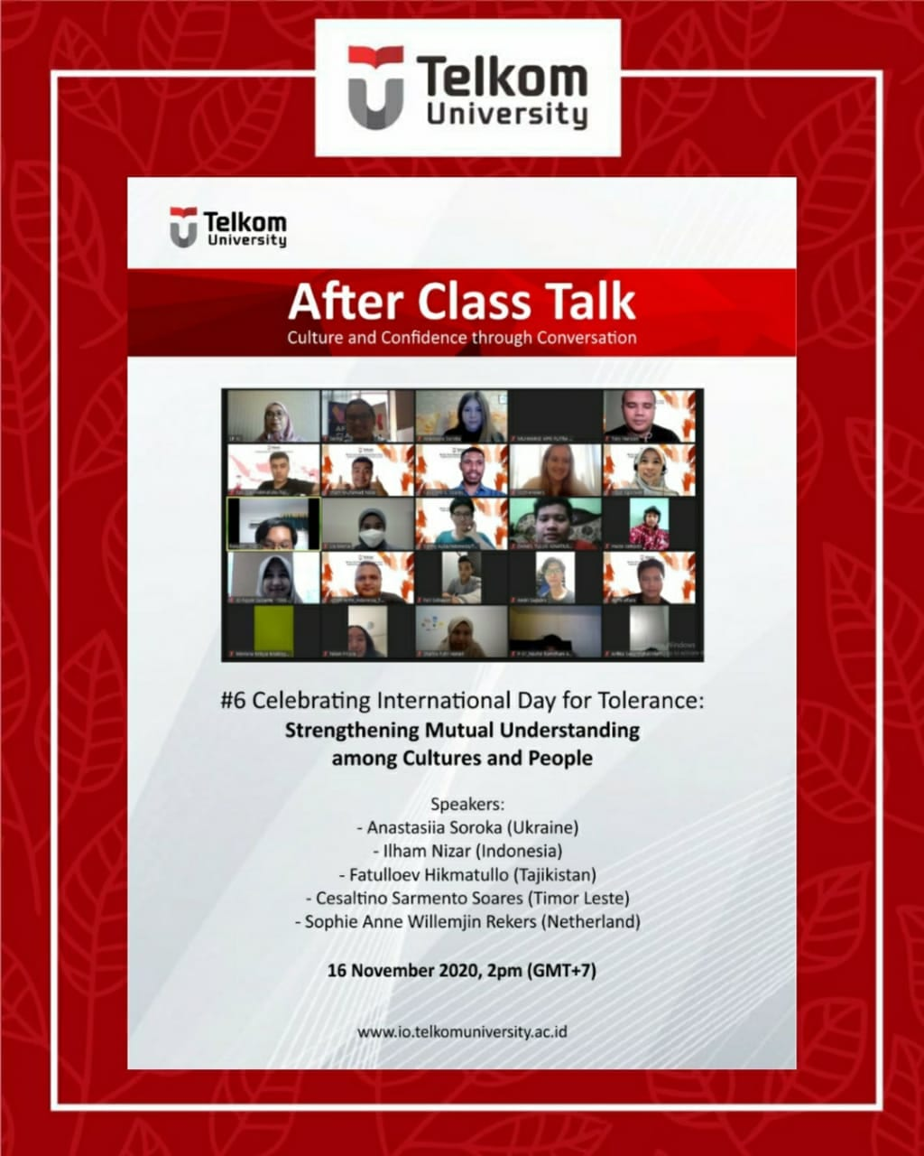 International Day for Tolerance: Strengthening Mutual Understanding among Cultures and People, After Class Talk November Series #6